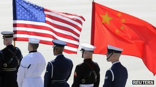 A colour guard of US and Chinese flags (file image from 12 April 2010)