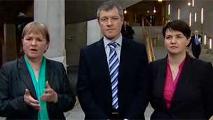 Labour's Johann Lamont, the Lib Dem's Willie Rennie and the Tories Ruth Davidson