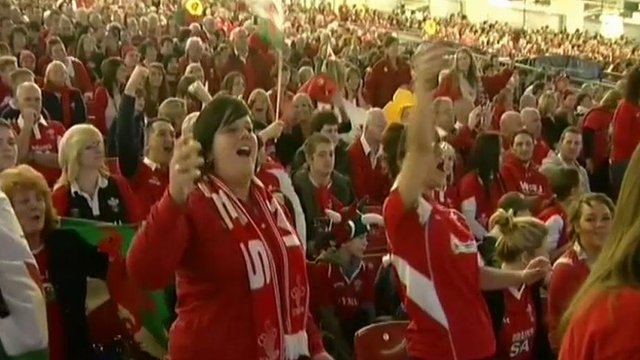 Welsh fans singing