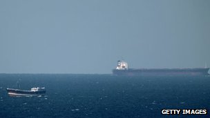 Oil tanker passing through the Straits of Hormuz