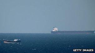 Oil tanker passing through the Straits of Hormuz