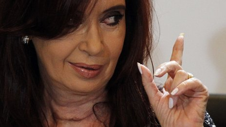 Cristina Fernandez de Kirchner makes her first appearance after undergoing surgery for cancer 25 January 2012