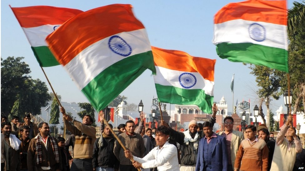 image gallery indian people waving flags