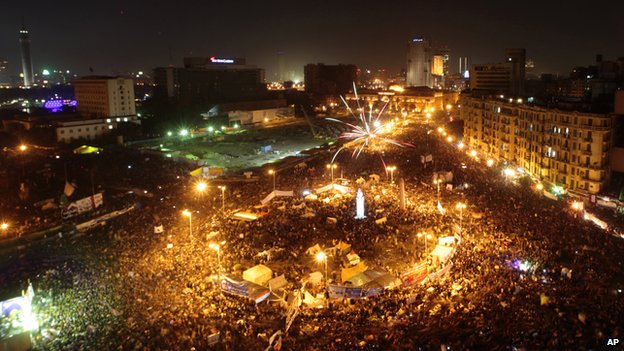 Crowds gather in Tahrir Square.