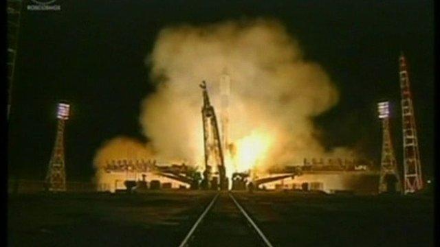 The Russian Progress M-14M blasts off