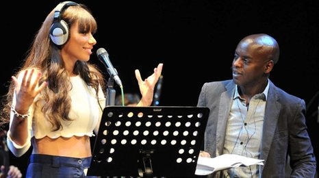Leona Lewis and Trevor Nelson announcing Radio 1's Hackney Weekend 2012
