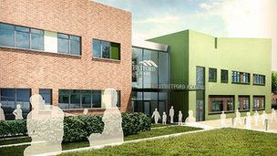Artist interpretation of new Thetford Academy building, Norfolk