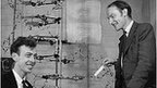 James Watson and Francis Crick with DNA model, 1953
