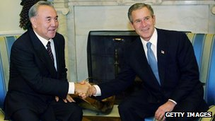 President Nazarbayev and former US President George W Bush in 2001