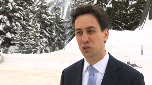 Ed Miliband in the snow at Davos