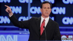 Rick Santorum at CNN debate in Jacksonville, Florida, 26 January 2012