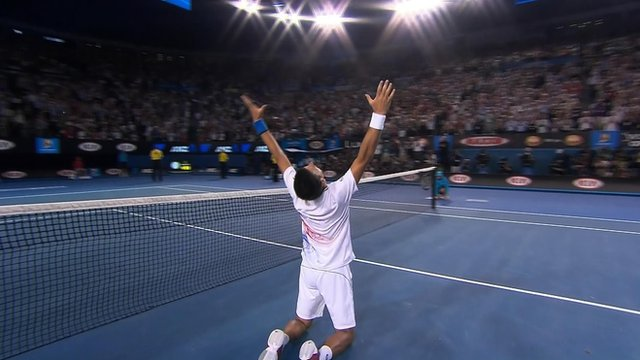Novak Djokovic celebrates victory over Andy Murray