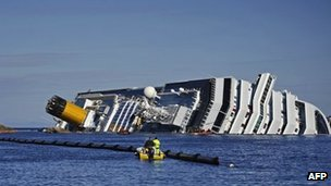 The wreck of the Costa Concordia cruise ship