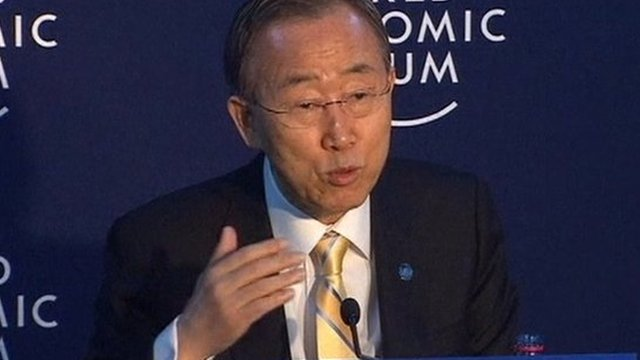 UN Secretary General Ban Ki-moon speaking from Davos