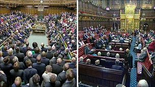 Commons chamber and Lords chamber