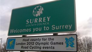 Surrey Olympic road sign