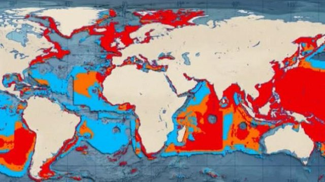 WWF map of the world fishing grounds