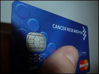thumb on cancer research card