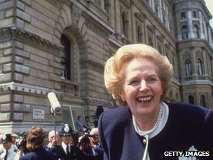 Margaret Thatcher smiling in Downing St at the start of her third term as PM, 1987
