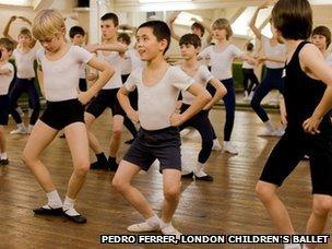 Boys' ballet class