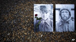 Photos of Soviet prisoners at the Sachsenhausen Nazi death site in Oranienburg, Germany, 27 January