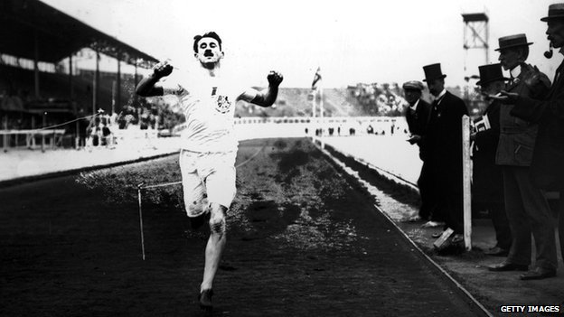 British athlete Wyndham Halswelle crosses the finishing line of the re-run Olympic 400m in 1908