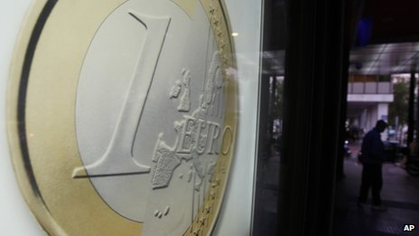 Euro billboard outside Athens bank (26 January)