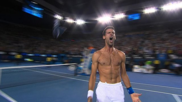 Novak Djokovic celebrates his amazing Australian Open win