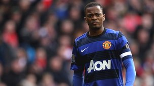 Patrice Evra during the Liverpool v Manchester United game
