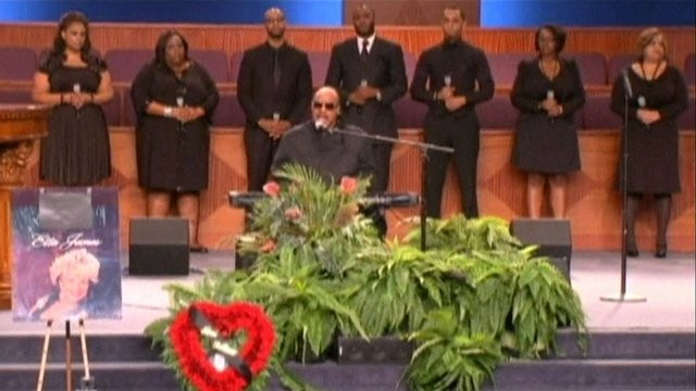 Stevie Wonder at Etta James' funeral