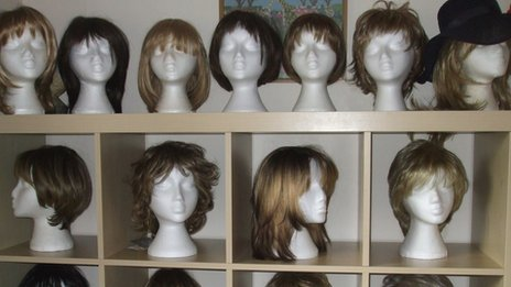Some of Mrs Woodyatt's wigs