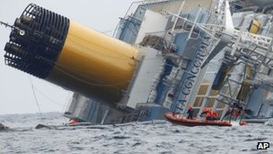Italian coastguard dinghy by the Costa Concordia off Italy (29 Jan 2012)