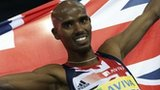 Mo Farah celebrates after winning the 1500m in Glasgow