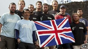 Walking With The Wounded Everest Team - From left back: Francis Atkinson, David Wiseman, Russell Brice; Middle: Andy Hawkins, Chris Gwilt, Martin Hewitt, Jaco Van Gass, Daniel Majid. Front: Mani Rai, Karl Hinett.