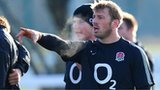 Chris Robshaw makes a point during training with England this week