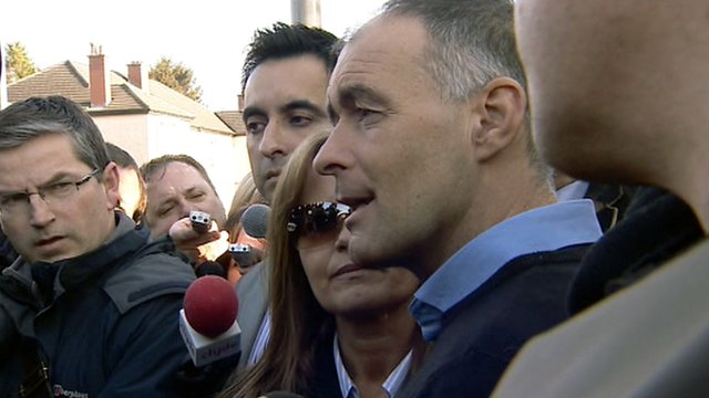 Tommy Sheridan speaks to the press outside his home