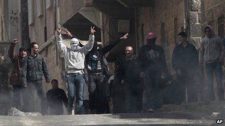 Anti-government protesters in Deraa (23 March 2011)