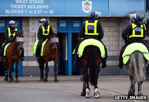 Police on horses outside the stadium before the FA Cup Fourth Round match between Millwall and Southampton