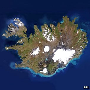 Satellite photo of Iceland
