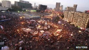 Protesters in Tahrir Square 27 January 2012