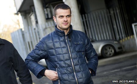 Pawel Brozek leaves Ross Hall after having his Celtic medical