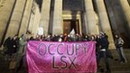 Occupy London protesters outside St Paul's Cathedral