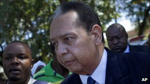 Former Haitian leader Jean-Claude Duvalier leaving court in Port-au-Prince on 20 January 2012