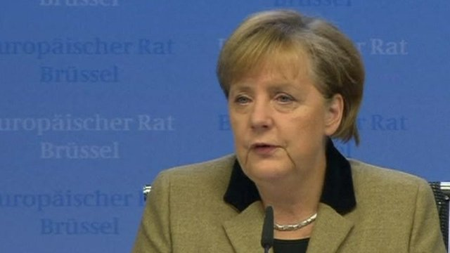 "Germany's Chancellor Angela Merkel says EU leaders have taken an ""important step forward"""