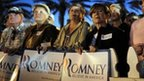 Supporters stand at rally for Mitt Romney in the Villages, Florida, 30 January 2012