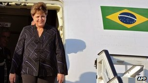 Dilma Rousseff arrives at Jose Marti aiport in Cuba