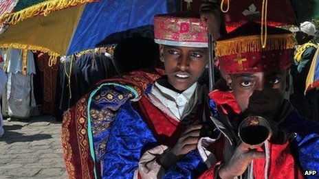 Young Ethiopian Orthodox Christians are pictured during the annual festival of Timkat in Lalibela, Ethiopia which celebrates Epiphany, the Baptism of Jesus in the Jordan River, on 20 January 2012.