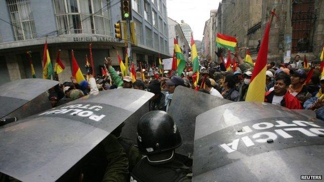 Protesters in La Paz