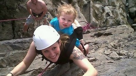 Menna Pritchard with daughter Ffion climbing