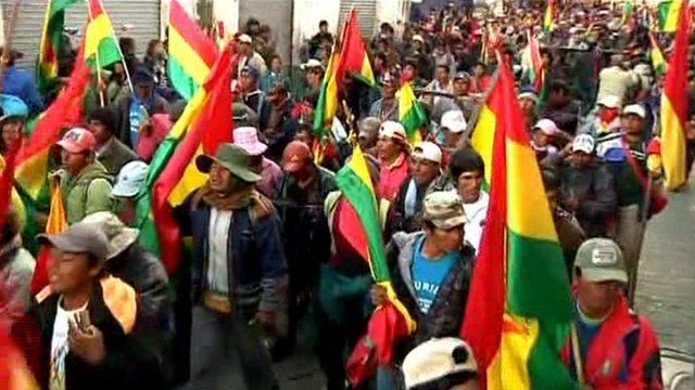Protesters in Bolivia